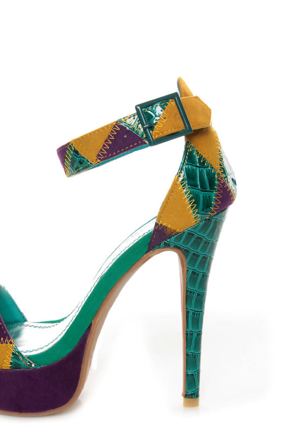 Anne Michelle Viral 41 Teal Multi Patchwork Platform Pumps