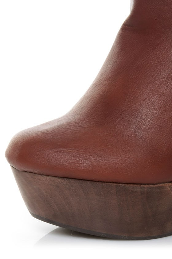 Angeles Ivana Brown Two Tone Wedge Ankle Boots