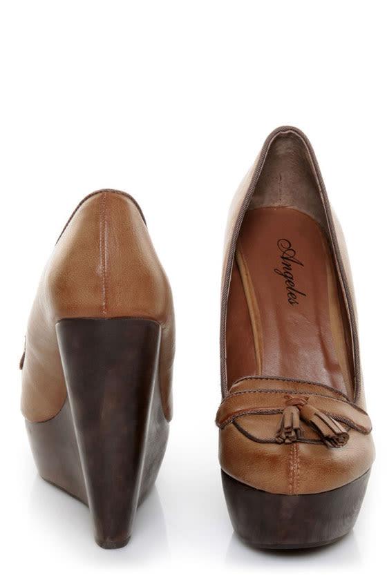 Angeles Lola Tan Tassel Platform Wedge Loafers