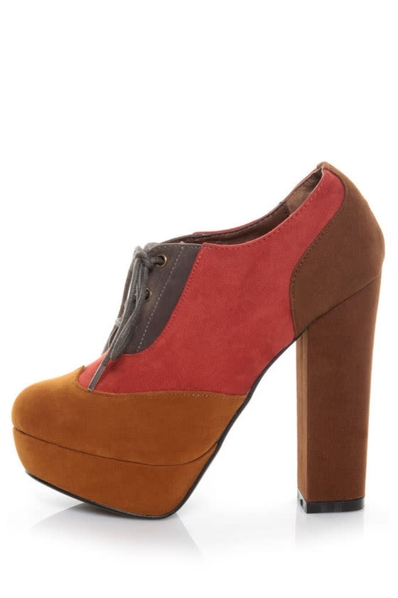 Angeles Vivian Red Multi Color Block Modern Spectator Heels