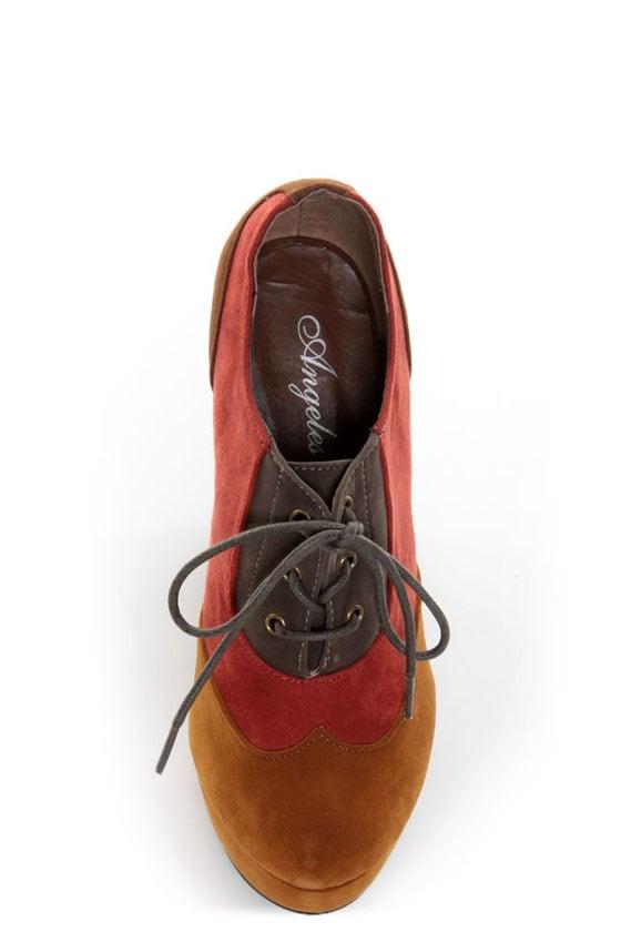 Angeles Vivian Red Multi Color Block Modern Spectator Heels