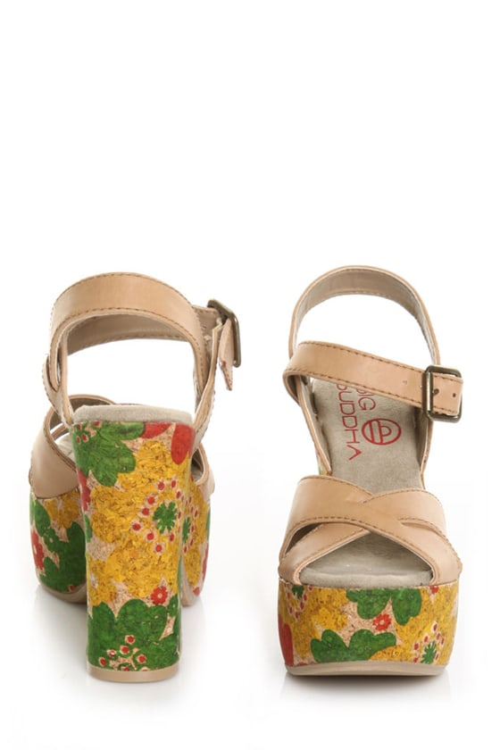 Big Buddha Queen Tan Flower Multi Power Platform Sandals