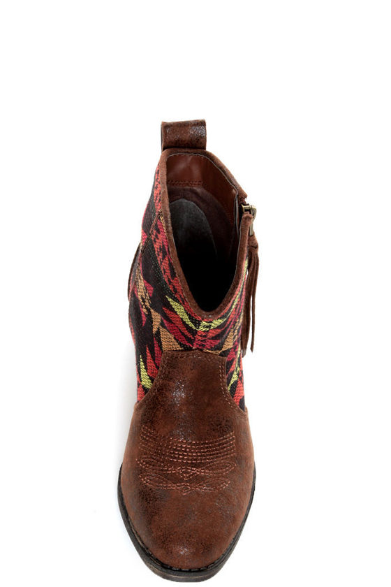Big Buddha Wendy Brown Multi Southwest Ankle Boots at Lulus.com!