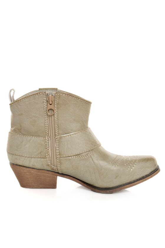 Big Buddha West Natural Paris Embellished Cowgirl Ankle Boots