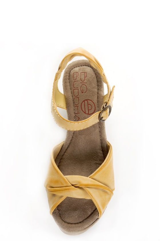 Big Buddha Zig Yellow Suede Platform Wedge Sandals