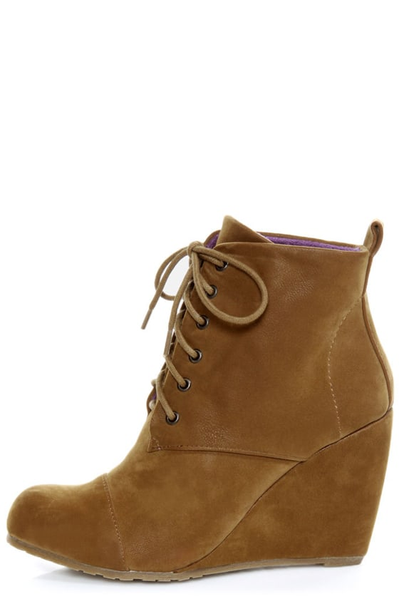 Blowfish India Earth Fawn Lace Up Wedge Booties 65 00