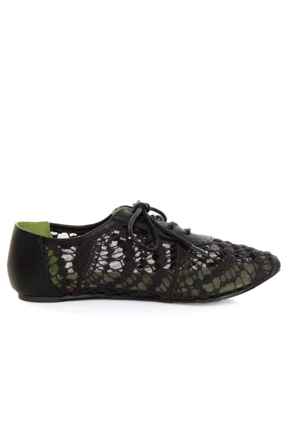 Blowfish Neat Black Crochet Oxfords at Lulus.com!