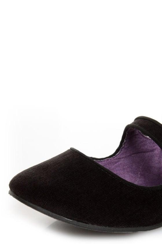 Blowfish Neo Black Corduroy Double Mary Jane Ballet Flats