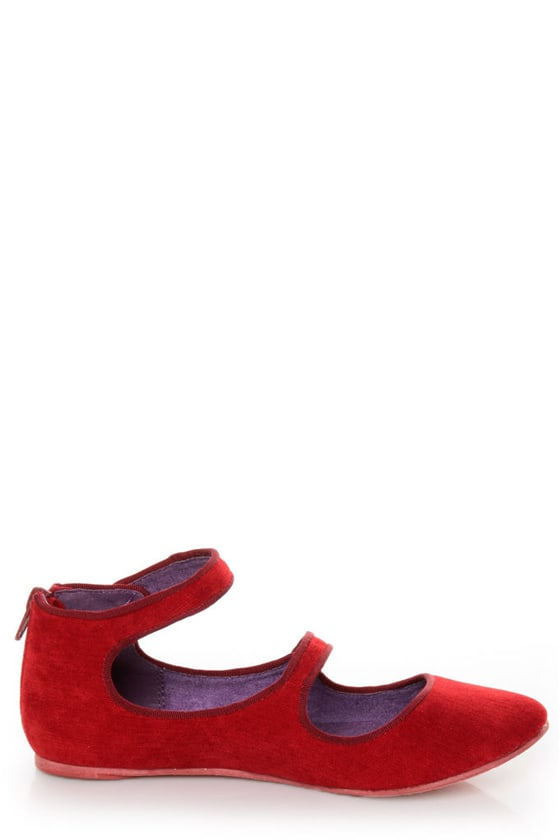 Blowfish Neo Red Corduroy Double Mary Jane Ballet Flats