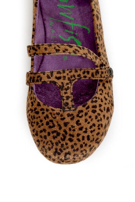 Blowfish Pippen Black and Rust Baby Cheetah Print Ballet Flats