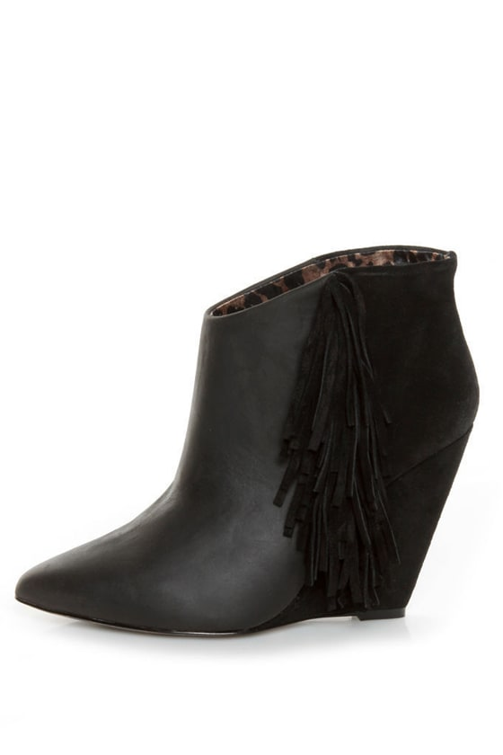 Betsey Johnson Ziah Black Leather & Suede Fringe Ankle Boots - $153.00
