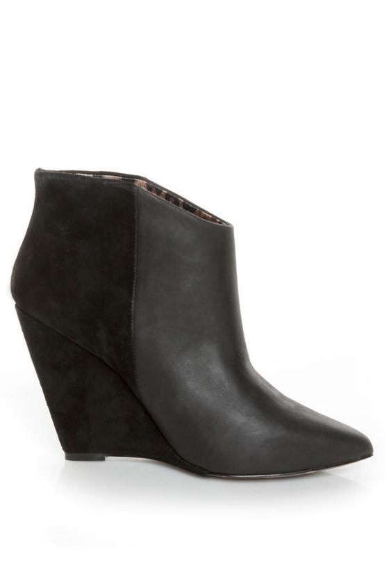 betsey johnson ziah black leather suede fringe ankle