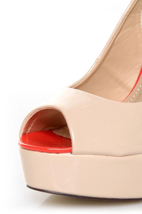 Bonnibel Blooming 1 Blush Patent Peep Toe Slingback Heels