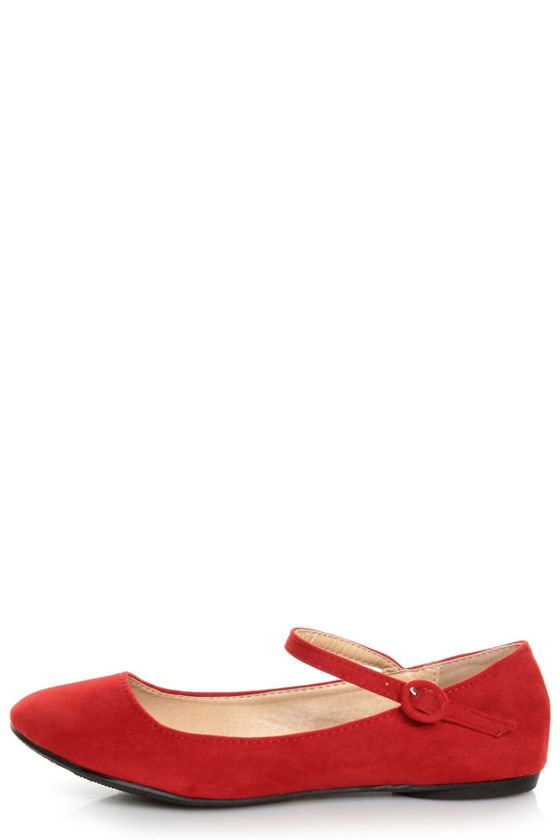 Doby 4 Red Velvet Mary Jane Ballet Flats -  19.00