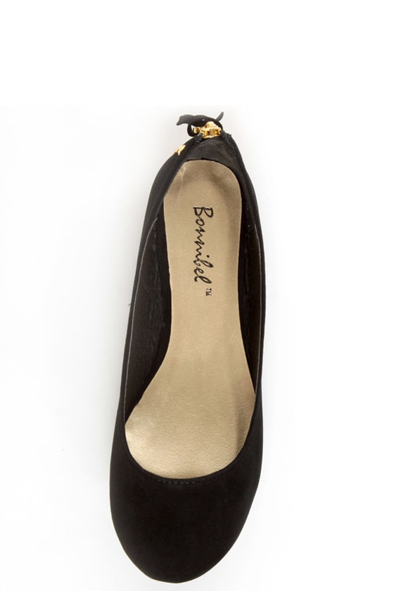 Doby 6 Black Studded Heel Zipper Ballet Flats at Lulus.com!