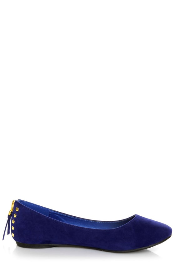 Doby 6 Royal Blue Studded Heel Zipper Ballet Flats