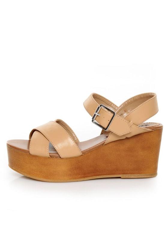 Bonnibel Elmo Camel Platform Wedge Sandals
