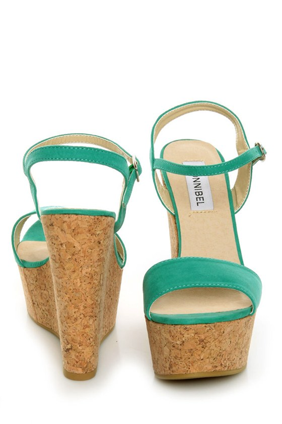 Bonnibel Hot 1 Sea Green Cork Wedge Sandals