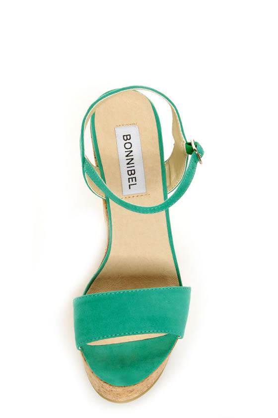 Bonnibel Hot 1 Sea Green Cork Wedge Sandals