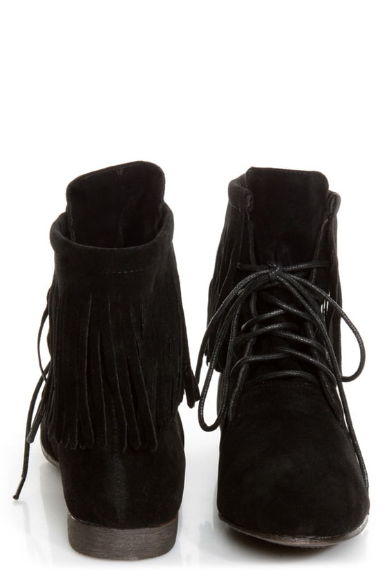 Sandy 35 Black Fringe Lace-Up Booties at Lulus.com!