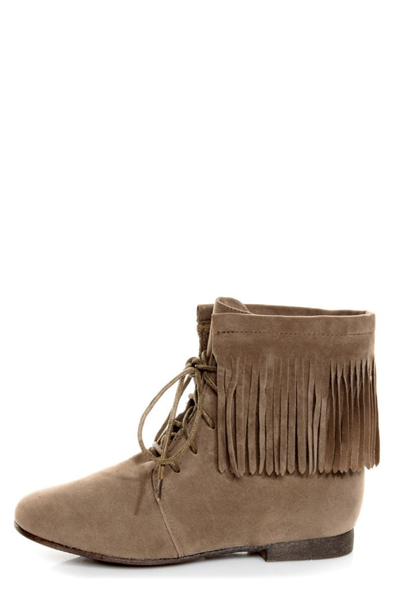 Sandy 35 Taupe Fringe Lace-Up Booties at Lulus.com!