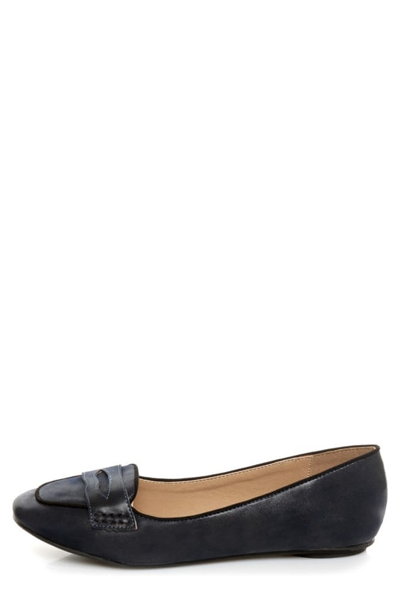 Bamboo Alive 04 Navy Blue Penny Loafers