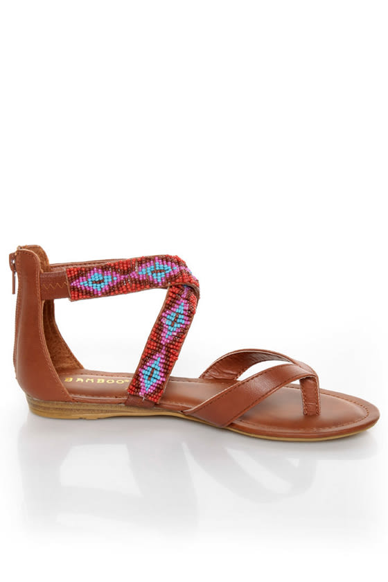 Bamboo Ashley 63 Chestnut Beaded Gladiator Sandals at Lulus.com!