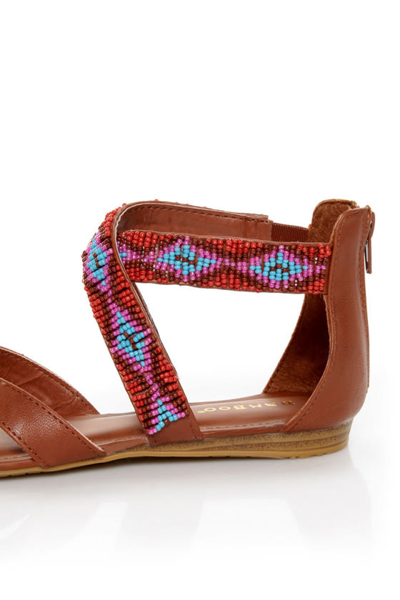 Bamboo Ashley 63 Chestnut Beaded Gladiator Sandals