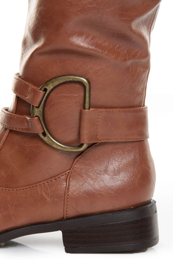 Bamboo Asiana 42 Chestnut Brown Belted Riding Boots