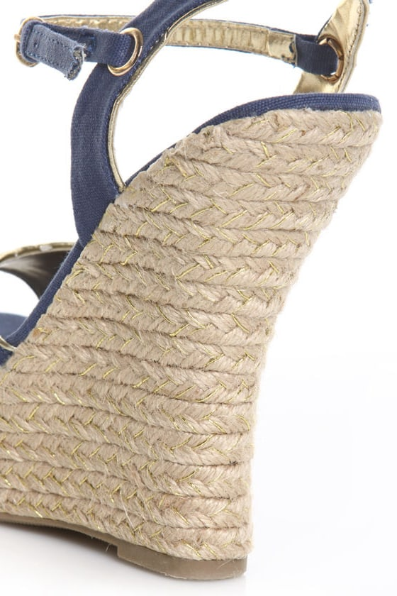 Bamboo BeSexy 01 Navy Blue Canvas Peep Toe Espadrille Wedges