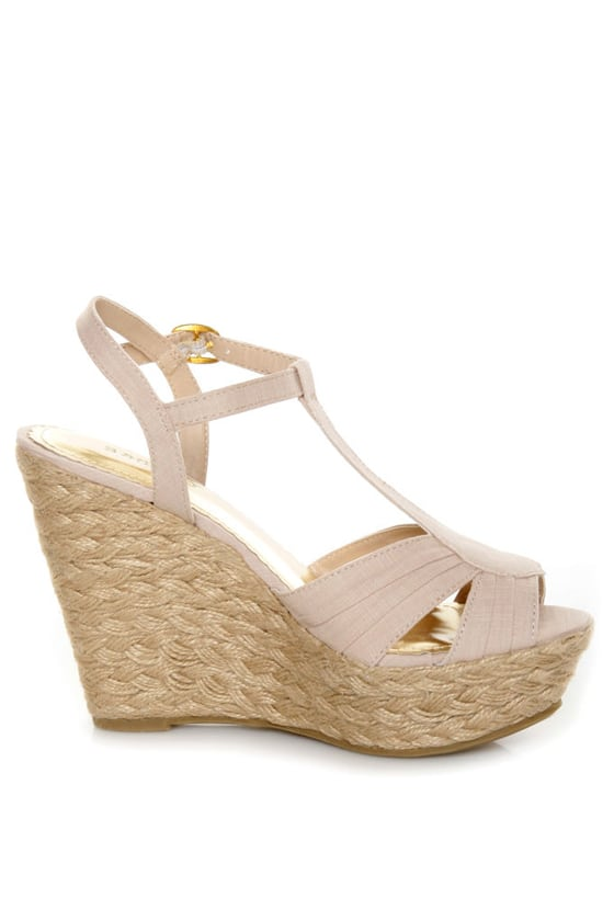 Bamboo Booster 03 Natural Linen T-Strap Espadrille Wedges