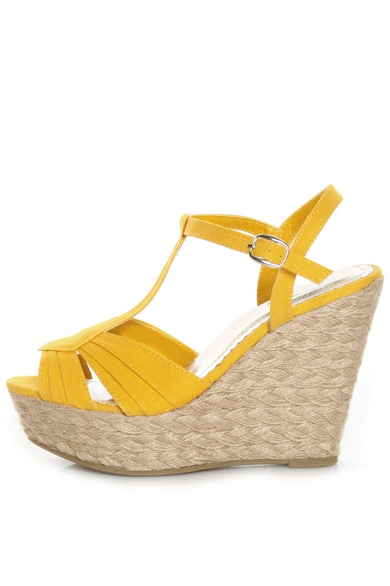 Bamboo Booster 03 Yellow Linen T-Strap Espadrille Wedges