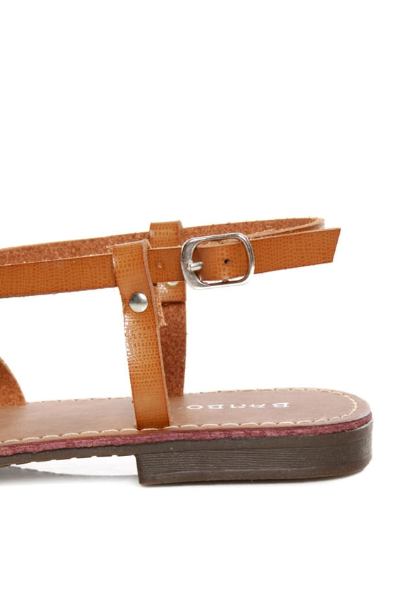 Bamboo Cable 03 Chestnut Strappy Thong Sandals