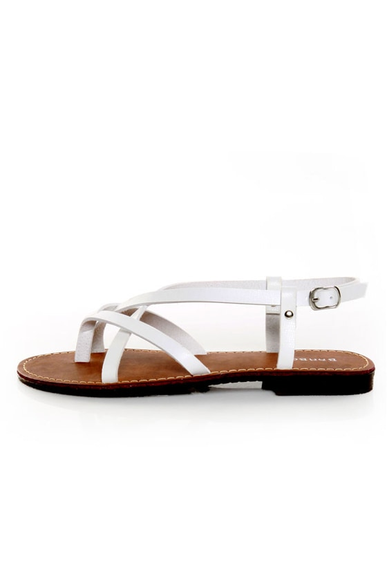 Bamboo Cable 03 White Strappy Thong Sandals
