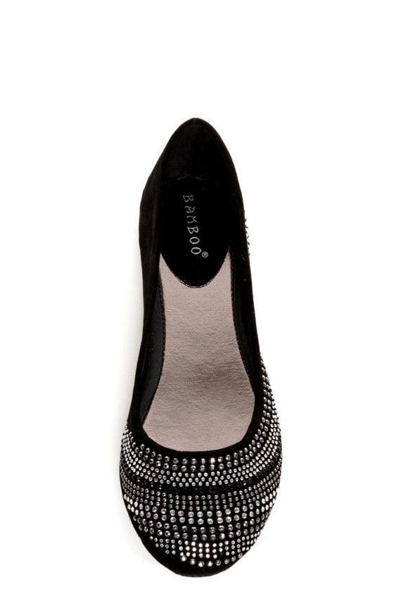 Bamboo Crush 20 Black Rhinestone-Studded Ballet Flats at Lulus.com!