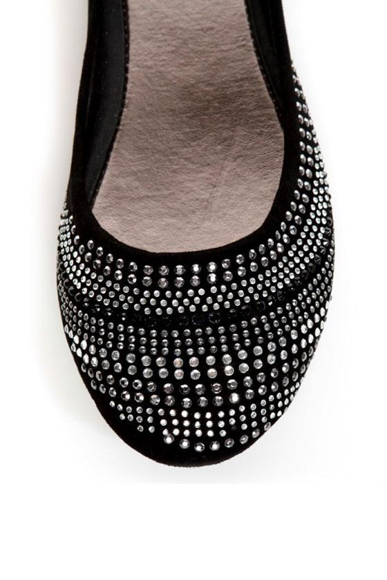 Bamboo Crush 20 Black Rhinestone-Studded Ballet Flats