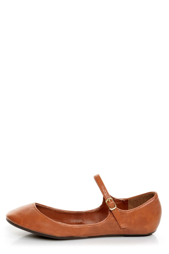 Bamboo Crush 25 Chestnut Brown Mary Jane Ballet Flats