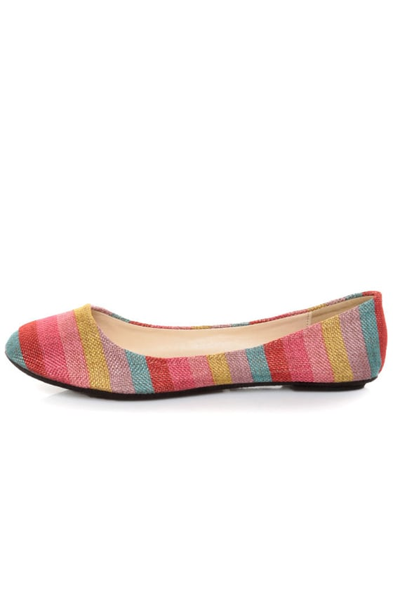 Bamboo Crush 80 Red Multi Striped Ballet Flats