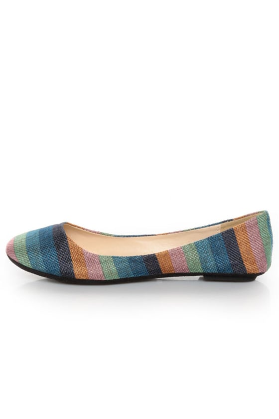 Bamboo Crush 80 Turquoise Multi Striped Ballet Flats