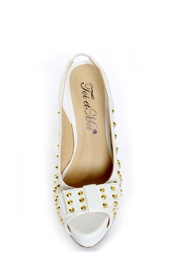 Toi et Moi Daisy 07 White Studded Slingback Platform Heels