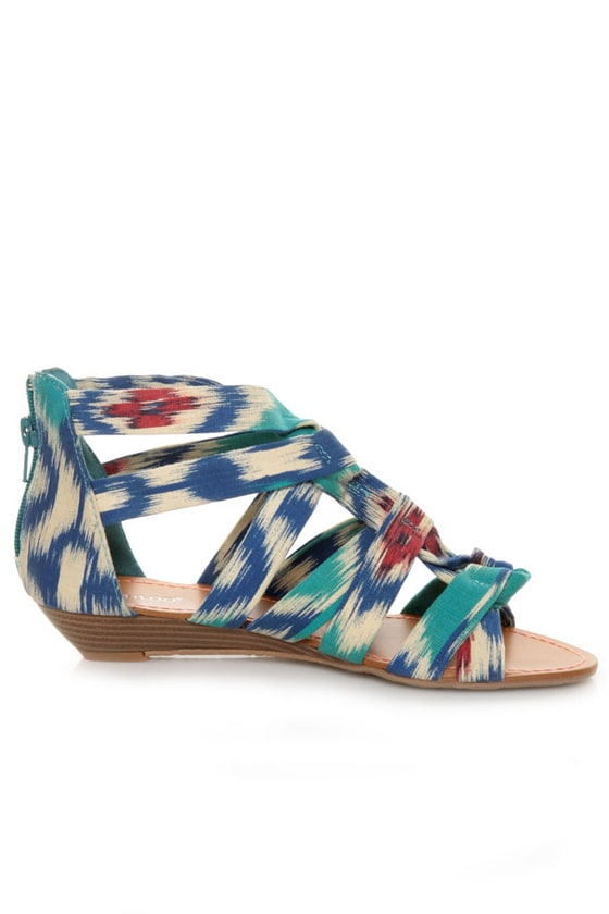 Bamboo Denisa 47 Blue Ikat Strappy Sliver Wedge Sandals