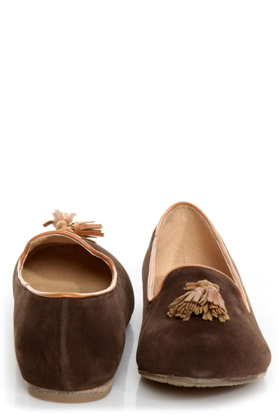 Bamboo Donovan 01 Brown & Tan Tassel Smoking Slipper Flats