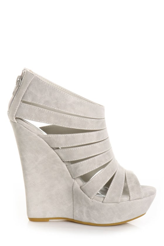 Bamboo Driven 18 Grey Nubuck Platform Cage Wedges
