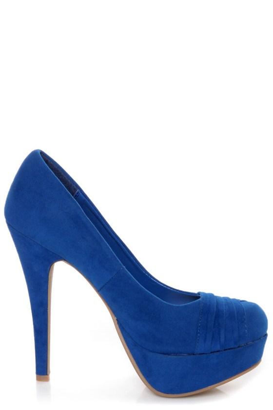 Bamboo Ericka 04 Blue Suede Ruched Platform Heels
