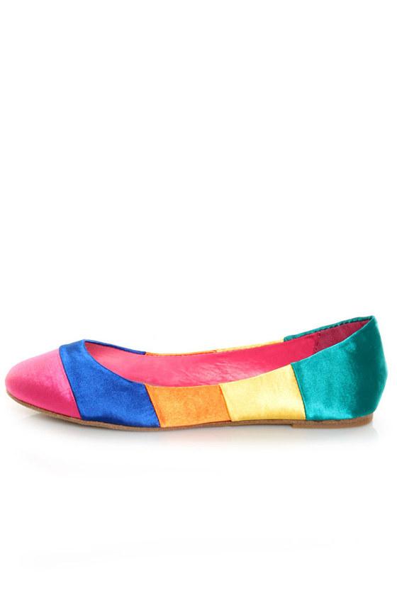 Bamboo Feeling 03 Multi Satin Rainbow Ballet Flats