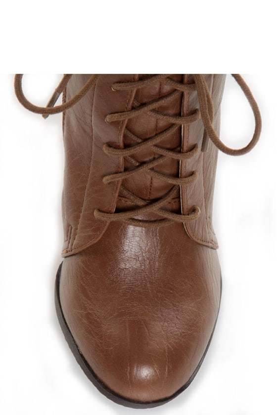 Bamboo Fenton 10 Chestnut Lace-Up Oxford High Heel Boots