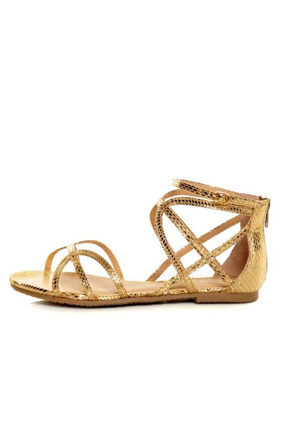 Bamboo Firework 92 Gold Snake Strappy Flat Gladiator Sandals