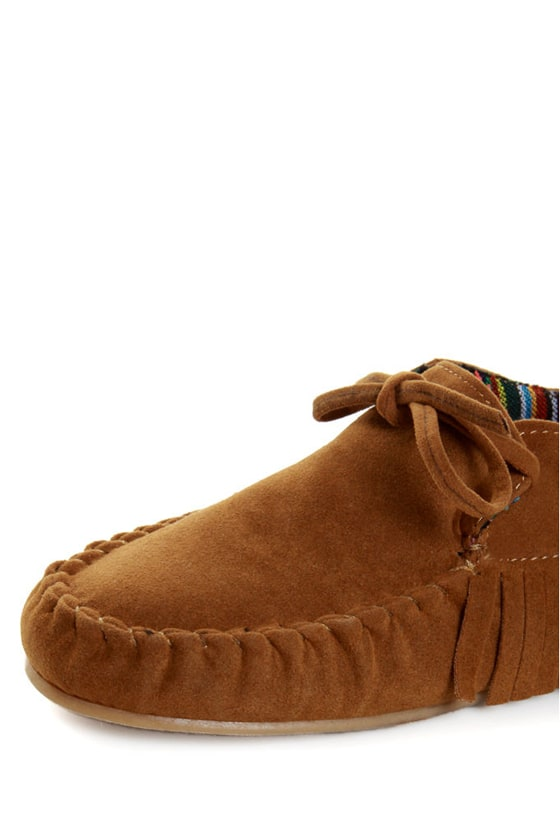 Bamboo Friends 09 Chestnut Fringe Moccasin Booties at Lulus.com!