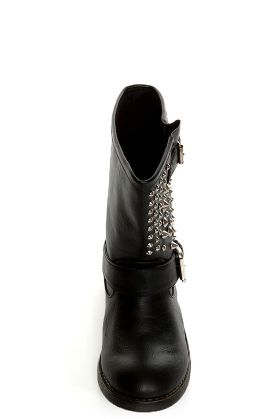 Bamboo Italo 03 Black Studded Motorcycle Ankle Boots
