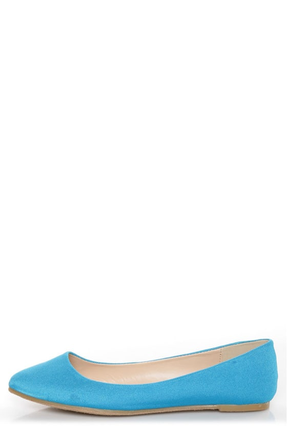 Bamboo Jump 01P Blue Lycra Pointed Flats
